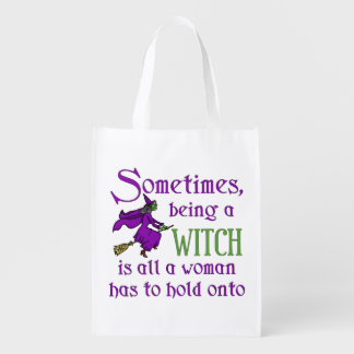 Funny Halloween Witch Reusable Grocery Bag