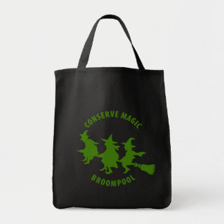 Funny Halloween Witches Green Tote Bag