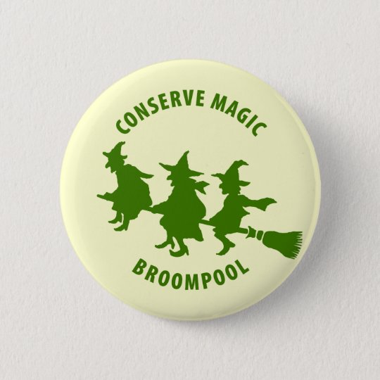 Funny Halloween Witches Green Button