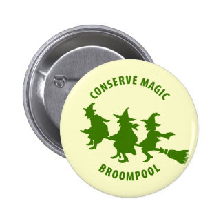 Funny Halloween Witches Green Pinback Button