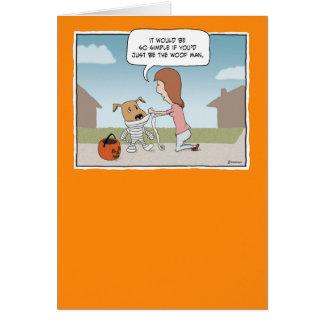 Funny Halloween Woof Man Card