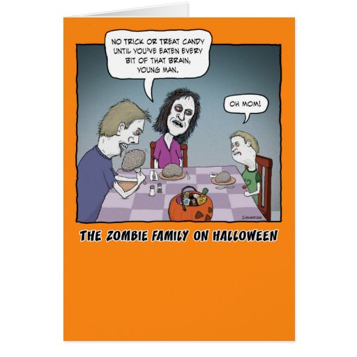 Funny halloween zombie family at dinner greeting card