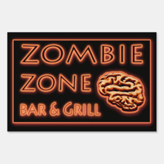 Funny Halloween ZOMBIE ZONE & Bar Grill Sign