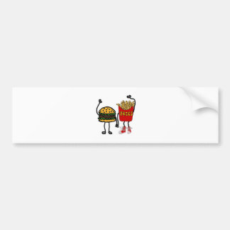 Funny Hamburger and French Fries Cartoon Art Bumper Sticker