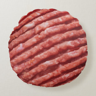 Funny Hamburger Beef Patty Round Pillow