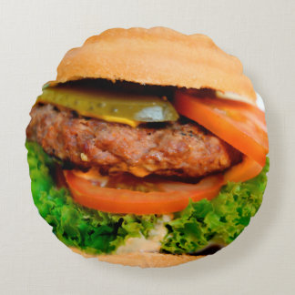 Funny Hamburger Cheeseburger All Over Print Food Round Pillow
