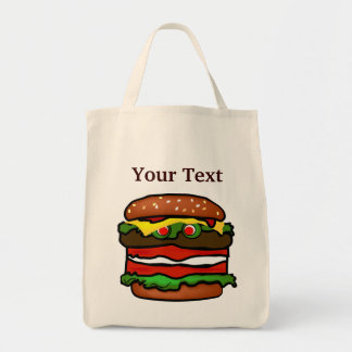 Funny Hamburger  Grocery Tote Bag