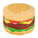 Funny Hamburger In A Sesame Seed Bun, Pouf at Zazzle