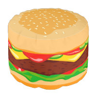 Funny hamburger in a sesame seed bun, pouf