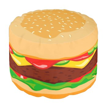 Funny Hamburger In A Sesame Seed Bun  Pouf by RWdesigning at Zazzle