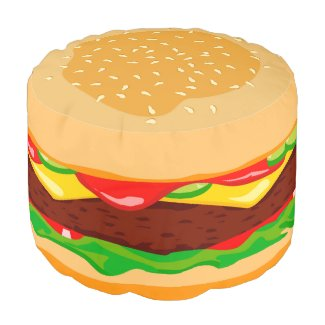 Funny hamburger in a sesame seed bun, round pouf