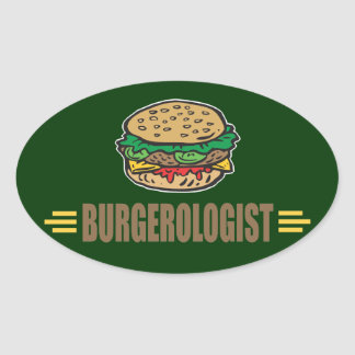 Funny Hamburger Oval Sticker