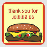 Funny Hamburger Picnic Favor Sticker