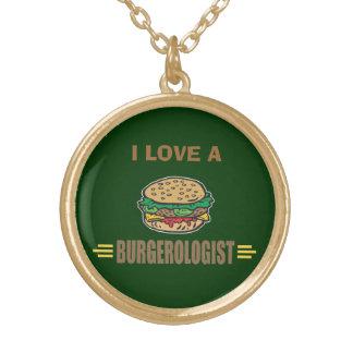 Funny Hamburger Round Pendant Necklace