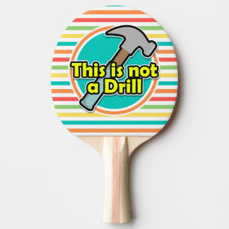 Funny Hammer; Bright Rainbow Stripes Ping-Pong Paddle