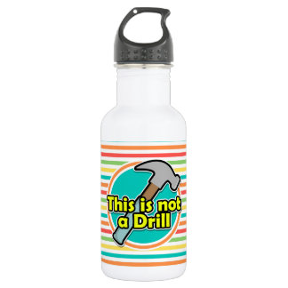 Funny Hammer; Bright Rainbow Stripes Water Bottle