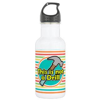 Funny Hammer; Bright Rainbow Stripes Water Bottle