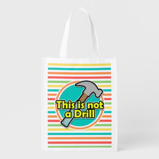 Funny Hammer; Bright Rainbow Stripes Reusable Grocery Bags