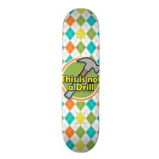 Funny Hammer on Colorful Argyle Pattern Skateboard Deck