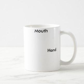 Funny hand and mouth mug