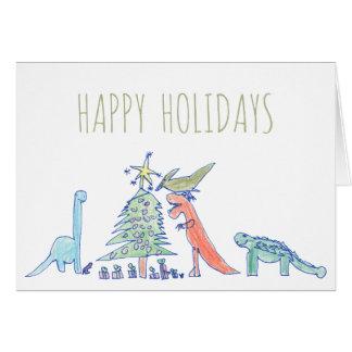 Funny Hand Drawn Dinosaur T-Rex Christmas Card