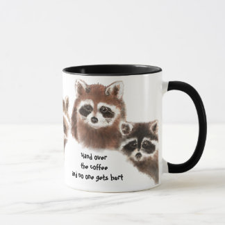 Funny, Hand over the Coffee, Cute Raccoon Mug