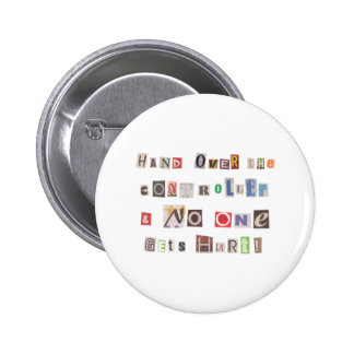 Funny Hand Over the Controller Ransom Note Collage Button
