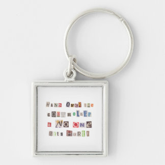 Funny Hand Over the Controller Ransom Note Collage Keychain