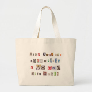 Funny Hand Over the Controller Ransom Note Collage Large Tote Bag