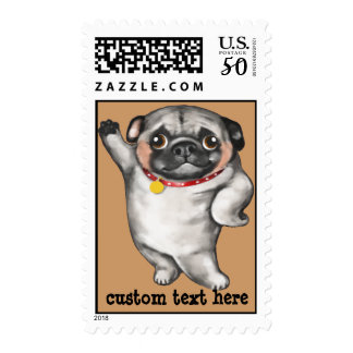 Funny hand-painted PUG in comical model pose Postage