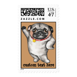 Funny hand-painted PUG in comical model pose Postage Stamp
