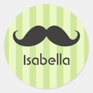 Funny handlebar mustache moustache green name classic round sticker