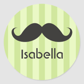 Funny handlebar mustache moustache green name classic round sticker