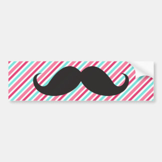 Funny handlebar mustache on pink aqua blue stripes bumper sticker