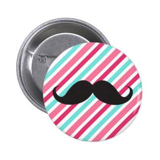 Funny handlebar mustache on pink aqua blue stripes button