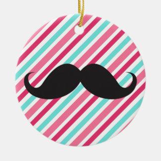 Funny handlebar mustache on pink aqua blue stripes ceramic ornament
