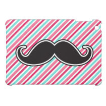 Funny handlebar mustache on pink aqua blue stripes cover for the iPad mini