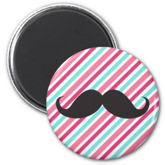 Funny handlebar mustache on pink aqua blue stripes magnet