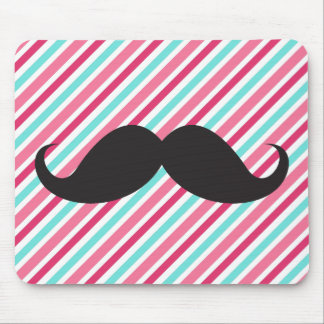 Funny handlebar mustache on pink aqua blue stripes mouse pad
