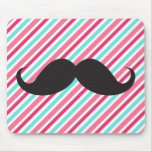 Funny handlebar mustache on pink aqua blue stripes mouse pad