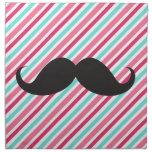 Funny handlebar mustache on pink aqua blue stripes napkin