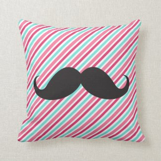 Funny handlebar mustache on pink aqua blue stripes throw pillow