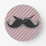 Funny handlebar mustache on retro gray red stripes clock