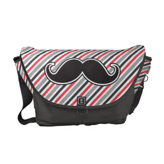 Funny handlebar mustache on retro gray red stripes courier bags