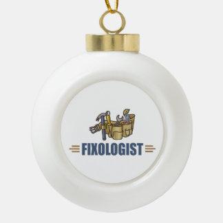 Funny Handyman Ceramic Ball Christmas Ornament