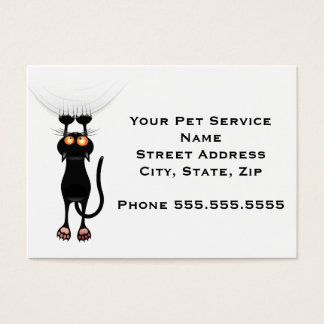 Funny Hang On Cat Business Card