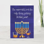 "Funny Hanukkah Menorah Cocktails Drinking Holiday Card<br><div class=""desc"">This design was created from my one-of-a-kind fluid acrylic painting. It may be personalized by clicking the customize button and changing the name, initials or words. You may also change the text color and style or delete the text for an image only design. Contact me at colorflowcreations@gmail.com if you with...</div>"