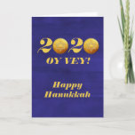 "Funny Hanukkah Oy Vey 2020 Gelt Coin Holiday Card<br><div class=""desc"">This design was created from my one-of-a-kind fluid acrylic painting. It may be personalized by clicking the customize button and changing the name, initials or words. You may also change the text color and style or delete the text for an image only design. Contact me at colorflowcreations@gmail.com if you with...</div>"