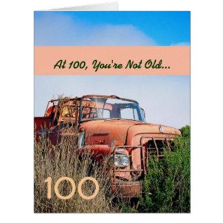 FUNNY Happy 100th Birthday Vintage Orange Truck A1 Card