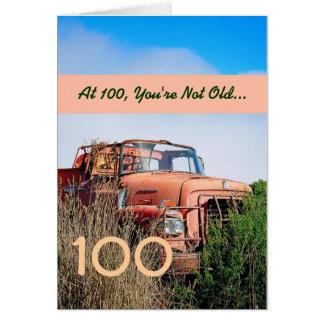 FUNNY Happy 100th Birthday - Vintage Orange Truck Card